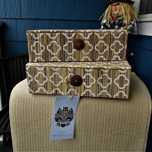 Set of (2) Handcrafted Indonesian Keepsake Boxes